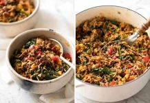 غذا با گوشت چرخ کرده و برنج