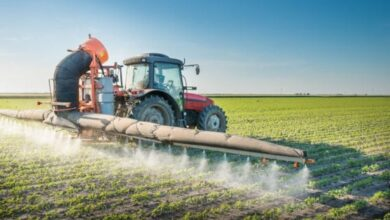 Farmer on tractor with large sprayer to kill weeds