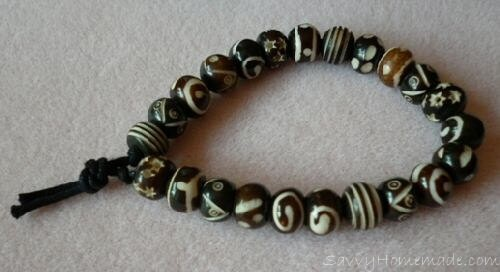 A Tea Dyed Bone Bead Bracelet