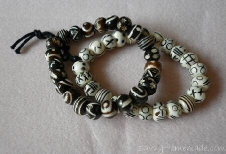 Homemade Tea Dyed Bone Bead Bracelets