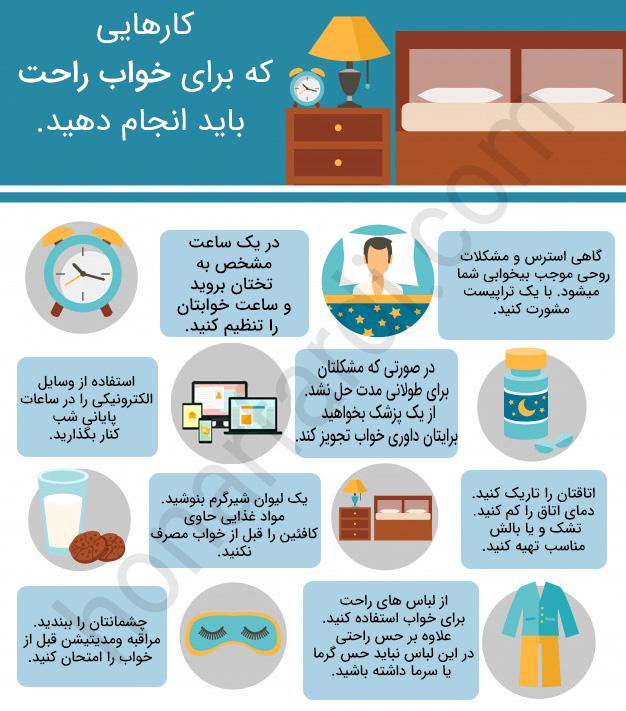 بهترین راهکارها برای خوابیدن موقع خستگی (اینفوگرافی)