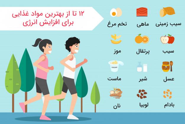 بهترین مواد غذایی برای افزایش انرژی (اینفوگرافی)