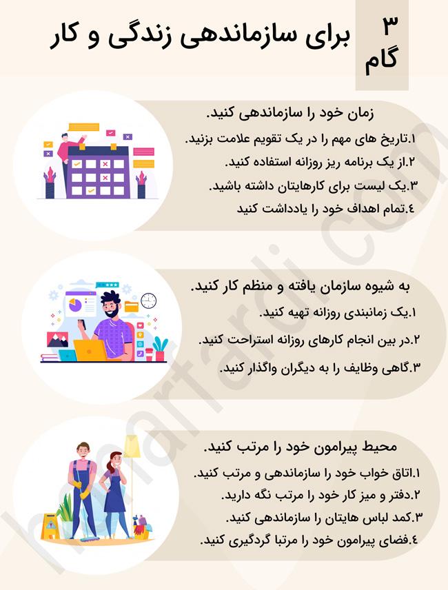 3 گام برای سازماندهی زندگی و کار (اینفوگرافی)