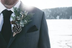Wedding Photo Close Up of Flower Lapel